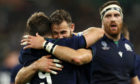 George Horne of Scotland celebrates scoring his team's seventh try with Tommy Seymour of Scotland during the Rugby World Cup 2019 Group A game between Scotland and Russia.