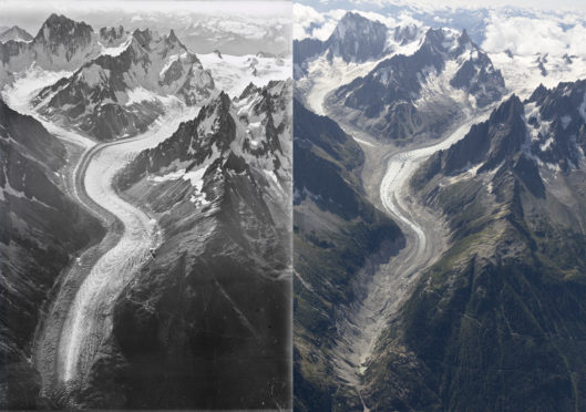 A century of climate change in the Alps is shown here.
