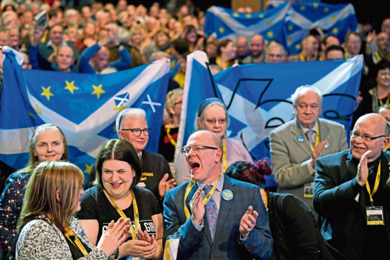 ABERDEEN, SCOTLAND - MARCH 18:  Delegates react after Scottish First Minister Nicola Sturgeon gave  her keynote speech at the SNP spring conference on March 18, 2017 in Aberdeeen, Scotland. Party members and delegates are focusing on a second Scottish independence referendum as the party meets for its spring conference in Aberdeen.   (Photo by Jeff J Mitchell/Getty Images)