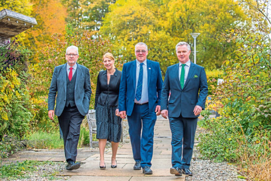 Michael Russell, NFU Brussels director Maeve Whyte, NFU Scotland president Andrew McCornick and Colin Clark.