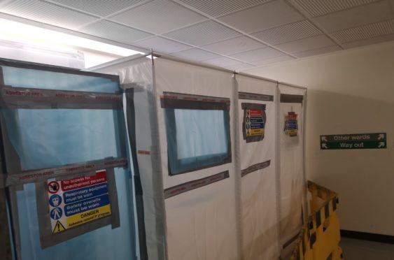 An asbestos warning in Ninewells Hospital.