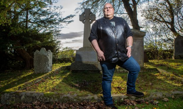 Author/witches expert Lenny Low at the site of the church where it is believed witch Thomas Brown was buried following his murder.