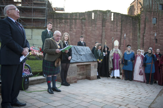 Provost Ronnie Proctor giving a speech at the unveiling.
