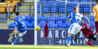 St Johnstone's Scott Tanser sees his penalty saved by Motherwell's Mark Gillespie.