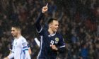 Lawrence Shankland celebrating his goal against San Marino.