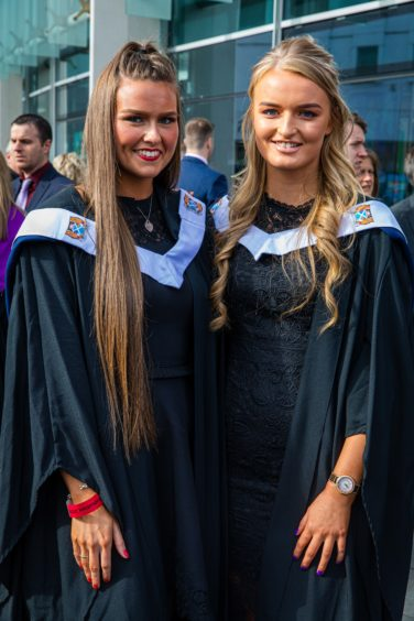 Amy Whitecross, 21, from Dundee and Aileen Aird, 19, from Crook of Devon graduating in beauty therapy.