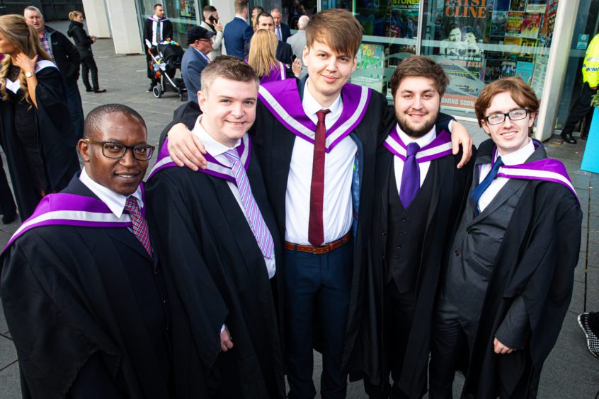 Huidson Kaman, 46, Stephen O'Neill, 44, Jozef Bynalec, 25, Andrew Niven, 22, and Joshua Huisman, 22, all graduating in economics, politics and history.