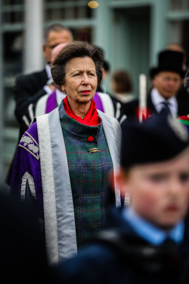 Princess Anne takes part in the graduation procession in Perth High Street.