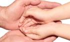 Parenting hands children stock