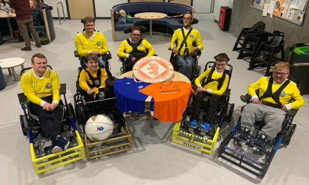Powerchair football players Nicky Duncan, Alexander Johnstone, Kein Speed, Kristin Macmaster, Liam Ritchie, Eythan Galloway and Logan Mitchelson.