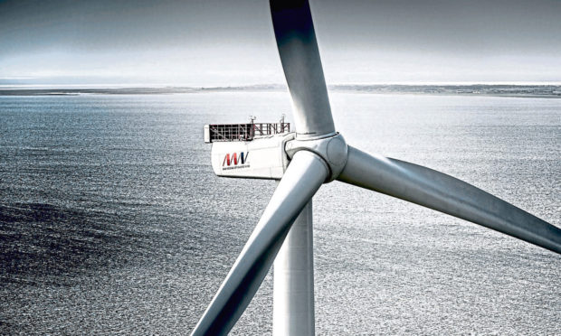 A wind turbine produced by MHI Vestas who are a supplier for SSEs Seagreens project.