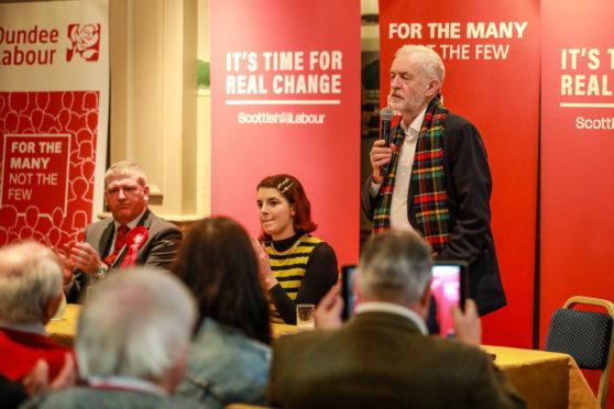 Jeremy Corbyn speaks to supporters.