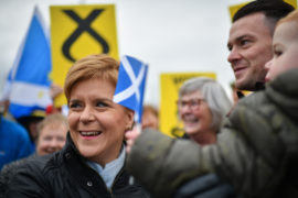 Nicola Sturgeon and Dave Doogan, SNP candidate for Angus, meets with activists and supporters on the general election campaign trail on  in Arbroath, Scotland.
