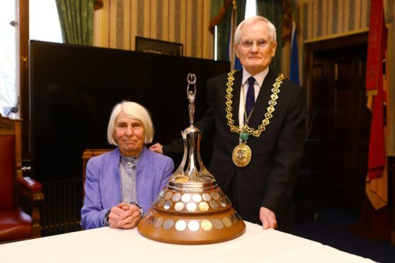 Lord Provost Ian Borthwick with Dundee's Citizen Of The Year 2019, Norma McGovern.