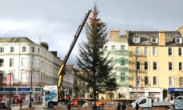 The Christmas tree arrives at the City Square in Dundee.