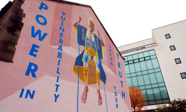 The huge mural by The Fandangoe Kid & Kirsty Whiten on the side of the Open Change building in Tay street Lane, Dundee.