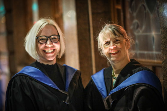Zoe Cooper and Gillian Duff, two of the first students to graduate from a new crime writing course at Dundee University