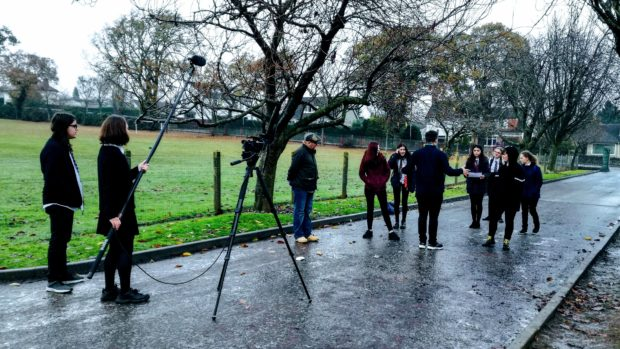 Perth Academy pupils filming for their submission.