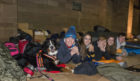 Participants at the sleep out (l-r):  Christopher Aitken, Charlotte Sampson, Cesc Salude, Leah Smith and Marcus Cleaver-Smith. Picture: Angus Findlay.