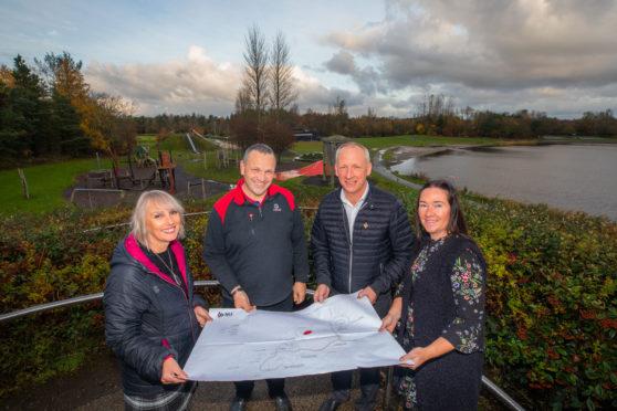 Friends of Lochore Meadows secretary Pauline Grandison, Ian Laing, David McKay and Karen Hunter, treasurer of the Friends group.