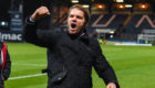 Dundee United manager Robbie Neilson celebrates another derby win.