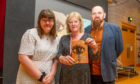 l to r - Ellie Beat, Janet Henderson and Mark Brown at the Rothes Halls, Glenrothes
