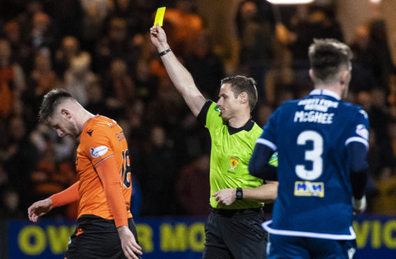 Dundee United's Calum Butcher set the tone early in the derby.