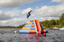 The wobbly water park at Galloway Activity centre on Loch Ken.