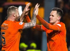 Dundee United's Lawrence Shankland with Mark Connolly.