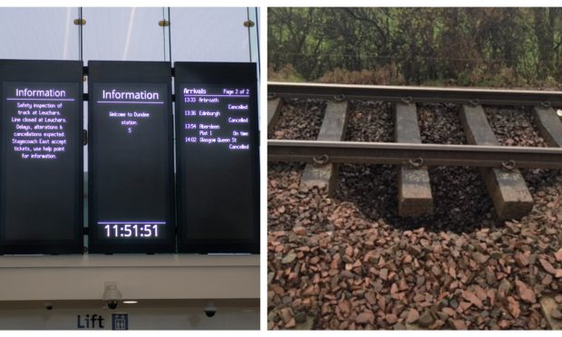 Right: a photo of the sinkhole which has caused the delays near Leuchars. Left: a departure board at Dundee Station today.