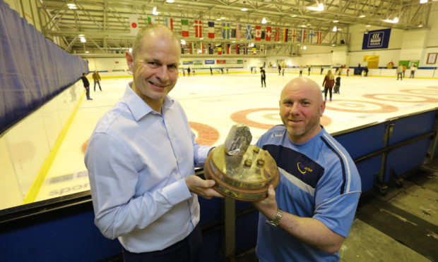 Pete Loudon, left, Chairman of the Organising Committee for the Perth Masters, and Paul Martin, Head Ice Technician at the Dewar's Centre are looking forward to the Perth Masters.
