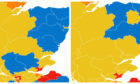A map showing how Courier country's constituencies could change this week.