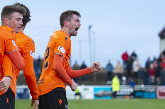 Sam Stanton celebrates what turned out to be the winning goal.