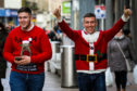 Kyle Bain, 20, and Jamie Paterson, 26, both Cardenden, got into the Christmas spirit for their shopping in Kirkcaldy High Street.