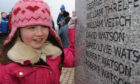 Pictured at the unveiling of the memorial to the victims of the Tay Rail Bridge Disaster on Riverside Drive, Dundee in 2013 - Gabrielle Thomson (8) reads the name of her great great great grandfather David Watson