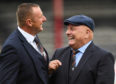 Rab and Dick Campbell at Dens Park earlier in the season.