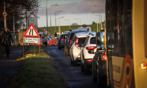 Traffic on the A919 at Leuchars on December 4.