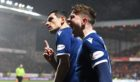 Graham Dorrans and Fin Robertson celebrate the equaliser against United.