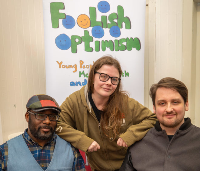 Leigh Addis (26) from Arbroath, Chika Inatimi from Dundee and Marc Ferguson (30) who are involved in the Foolish Optimism project